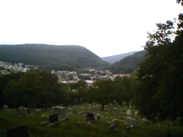 Looking north, on the steps near Block 23 (rear of cemetery)