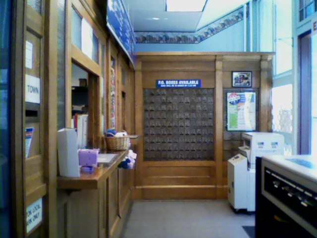 Interior of Trevorton post office. The postal clerk tells me the building was originally a general store, and the woodwork you see here is fairly recent, dating from the 1950s.