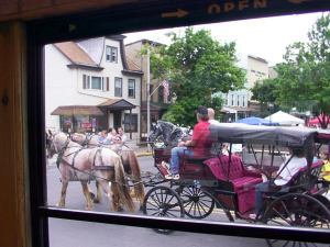 Horse and buggy, as seen from the trolley