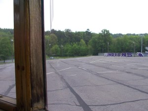 Stadium and parking lot on school property. Originally the site of Edgewood Lake and pool.